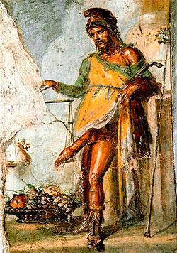 Fruktbarhetsguden Priapus malt på en vegg i Pompeii. Han hadde   ansvar for budskap, frukt og grønnsaker, og det mannlige kjønnsorgan.   (Foto: Wikimedia Commons)