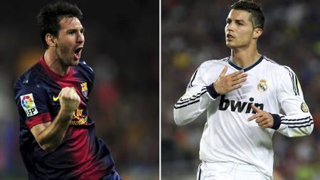 PÅ SAMME LAG? Ronaldo vil gjerne spille sammen med Messi, men da må argentineren komme til Real Madrid, hevder superstjernen. (Foto: QUIQUE G/Afp)