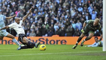 DA: Jermain Defoe var millimetere fra å gi Tottenham seieren på Etihad i januar. (Foto: Martin Rickett/Pa Photos)
