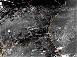 Satellittbildet tatt 29. januar 2004 viser at den østilige delen   av USA er dekket av kondensstriper. (Foto: NASA)