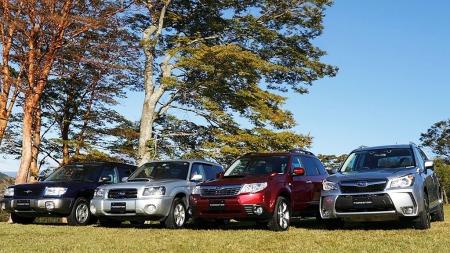Den første Subaru Forester kom i 1997. Her er alle fire generasjonene samlet