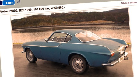 Volvo P1800 er en bil som fasinerer også de som ikke er spesielt bilinteresserte (Foto: Faksimile fra finn.no )