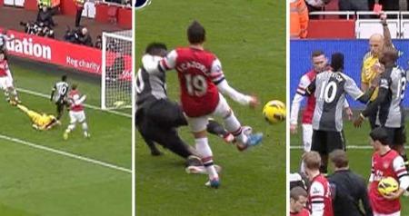 Emmanuel Adebayor scoret for Tottenham mot Arsenal, men taklet stygt og ble utvist. (Foto: MONTASJE)