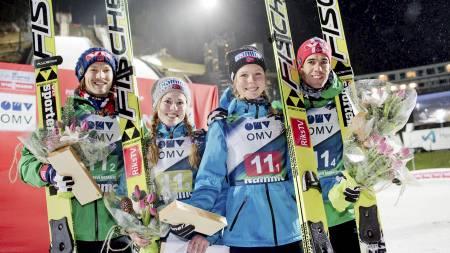 Tom Hilde, Anette Sagen, Maren Lundby and Anders Bardal (Foto: NTB SCANPIX/Reuters)