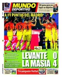 LEVANTE 0 - LA MASIA 4: El Mundo Deportivo hyller Barcelonas ungdomssatsing. Mot Levante var elleve spillere som er fostret frem i La Masia på banen samtidig.