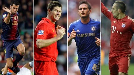 PÅ LISTEN: Sergio Busquets, Steven Gerrard, Frank Lampard og Franck Ribery er alle på Fifa/FIFPros liste over verdens 15 beste midtbanespillere i 2012.