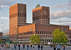 Etter en time rekker utslippet to tredjedeler opp på Rådhuset. (Foto: Wikipedia)