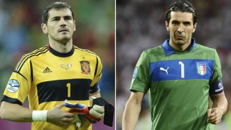 NOMINERT: Iker Casillas og Gianluigi Buffon er begge nomoinert til verdenslaget for 2012. (Foto: DESK/Afp)