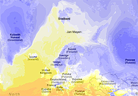Temperaturen mandag morgen. (Foto: storm.no)