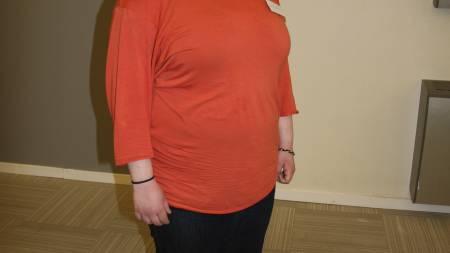 FØR: Christine Fleischer i april 2012. Hun veier 96 kilo og kroppsscanningen viser at kroppen hennes består av 50 prosent fett. (Foto: Eivind A. Pettersen/TV 2/)