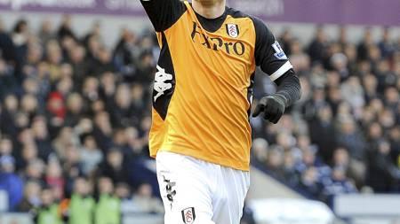 Dimitar Berbatov, Fulham, jubler for scoring borte mot WBA 1. januar. (Foto: PA Wire/Pa Photos)