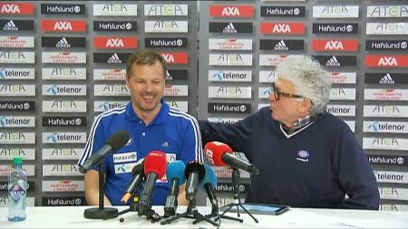 Kjetil Rekdal ble presentert som ny VIF-trener av Åge Petter Christiansen. (Foto: TV 2)