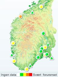 Mandag formiddag er det bare Ålesund som har mye forurenset luft. (Foto: luftkvalitet.no)