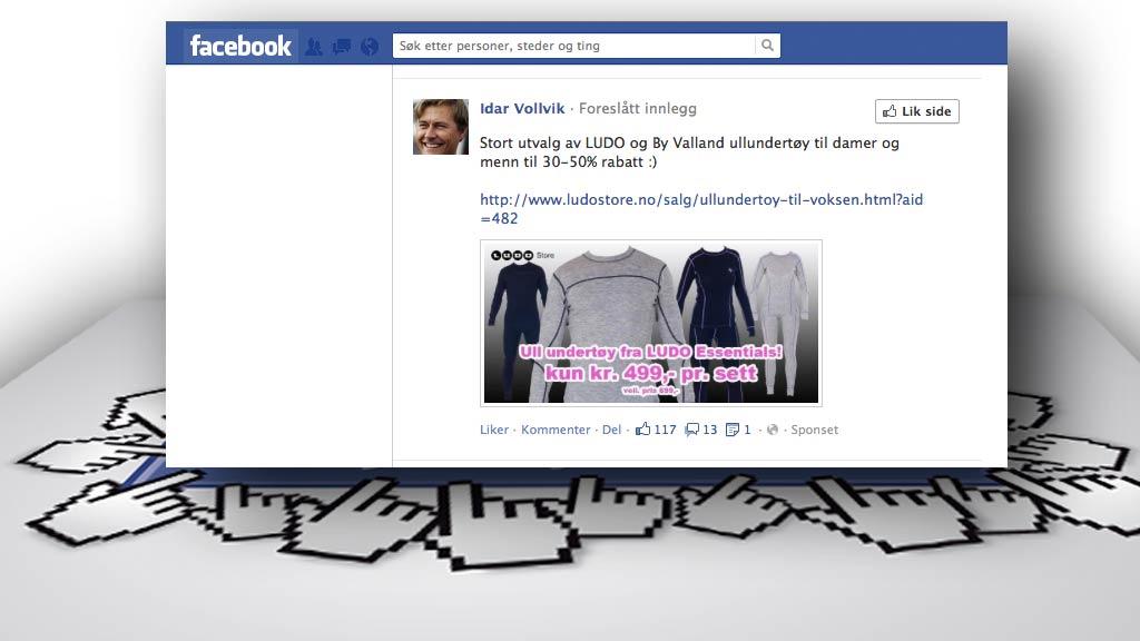 REKLAME: Med få klikk kan du hindre å se gjentatte reklamer på  Facebook. (Foto: Skjermdump/Colourbox.com)