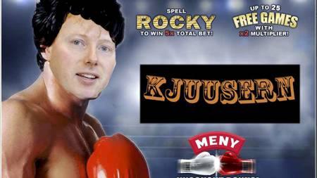 GØY MED SJEFEN: Meny-direktør Vegard Kjuus blir fremstilt som den nye Rocky internt på jobben. (Foto: Privat/)