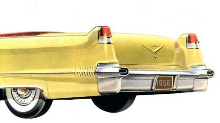 Cadillac ga opphav til halefinne-moten i 1948, og det samme grunndesignet levde videre helt til 1956. Her en 1956 Cadillac Series 62 Convertible.