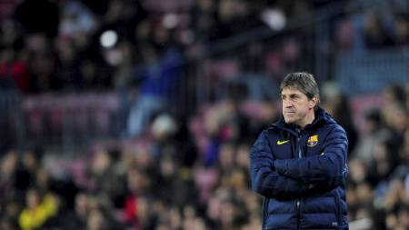 LEDER BARCA: Jordi Roura skal lede Barcelona i ti dager. (Foto: Manu Fernandez/Ap)