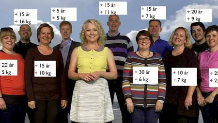 SLANKEFEST: Det er ikke bare de ti deltakerne fra Meny som har hatt fremgang etter å ha fulgt opplegget til TV 2 Sporty og programleder Hedda Kise (foran). Sykefraværet i hele  dagligvarekjeden har gått ned det siste året. (Foto: Illustrasjon/TV 2/)