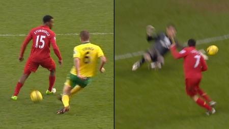 SAMARBEID: Daniel Sturridge hoppet over ballen og rundlurte Norwich-forsvaret.