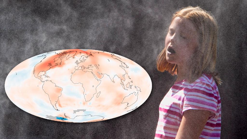 2012 var det niende varmeste året siden 1880. I USA har det aldri  vært registrert et varmere år. Jenten på bildet kjøler seg av i en dusj  i Omaha 18. juli. (Foto: AP Photo/Nati Harnik / NASA)