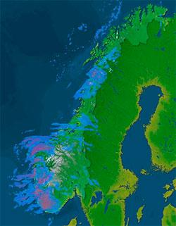 Her falt det nedbør klokken 16.30. Gå til storm.no/radar/ for   å sjekke forholdene nå. (Foto: storm.no)