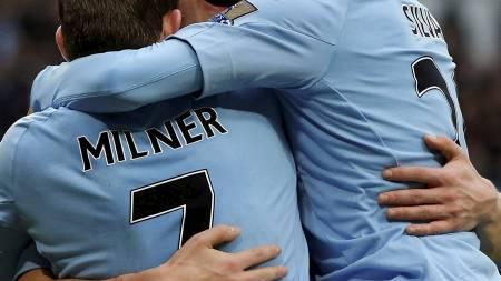 Det bør ligge an til mer feiring for David Silva, James Milner og Edin Dzeko i Manchester Citys møte mot et svekket Newcastle påskeaften (Foto: PHIL NOBLE/Reuters)
