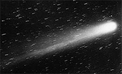 Halleys komet fotografert 29 mars 1910. De små strekene er stjerne, som er dradd utover av den lange lukkertiden. (Foto: Wikimedia Comons)