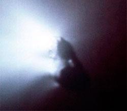 Da Halleys komet passerte oss i 1986 sendte ESA opp sonden Giotto for å ta bilder av den. Her er det lett å se hvordan fontener av gass blåser ut av den mørke kjernen. (Foto: ESA)