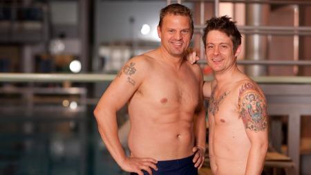 Otto Robsahm og Lars Erik Blokkhus ble første par som måtte forlate konkurransen i «Skal vi stupe». (Foto: Rolf-Ørjan Høgset)