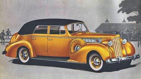 Packard skal ha vært først ute med air condition i bil i 1939 - her representert ved en Five Passenger Convertible Sedan. De var åpenbart også tidlig ute med fargebrosjyrer. Men det vi EGENTLIG skulle finne ut av, er det verre med...