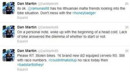 Garmin-Sharp-rytter Dan Martin tok til Twitter etter at lagets sykler ble stjålet.