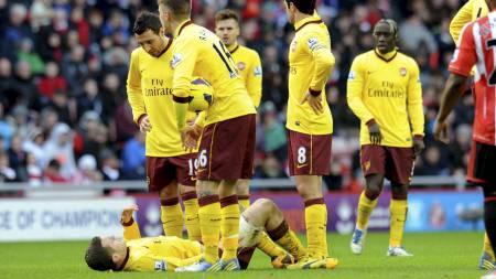NEDE FOR TELLING: Jack Wilshere måtte gå ut med skade mot Sunderland. (Foto: Owen Humphreys/Pa Photos)