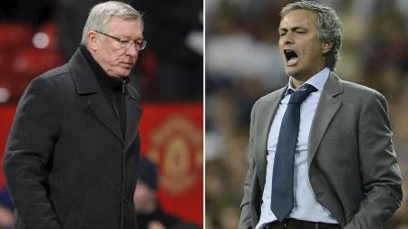 MØTES TIL DUELL: Sir Alex Ferguson og José Mourinho. (Foto: PAUL ELLIS/Afp)