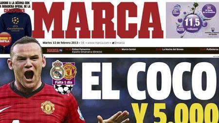 EL COCO: Marca presenterer Wayne Rooney som El coco på sine forsider tirsdag. (Foto: Faksmilie: Marca/)