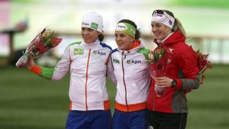TOPP TRE I VM: Ireen Wüust, Diane Valkenburg og Ida Njåtun var de tre beste på kivnnenes 3000-meter under VM på Hamar i 2013. (Foto: Larsen, Håkon Mosvold/NTB scanpix)