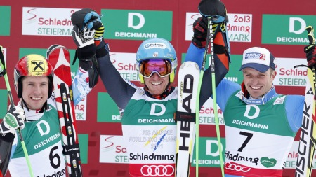 PALLEN: Marcel Hirscher, Ted Ligety og Manfred Mölgg tok medaljene på herrenes storslalåm.