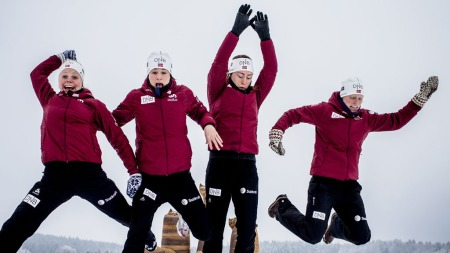 NORGES STFETTLAG: Hilde Fenne, Ann Kristin Aafedt Flatland, Synnøve Solemdal, Tora Berger (Foto: Stian Lysberg Solum/Scanpix)