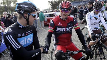 Edvald Boasson Hagen og Thor Hushovd før start i Paris-Roubaix i 2012. (Foto: Lauten, Daniel Sannum)