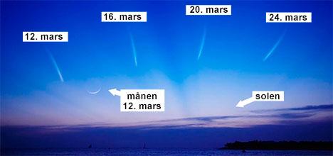 Se mot vest i midten av mars. (Foto: NASA Science Cast)