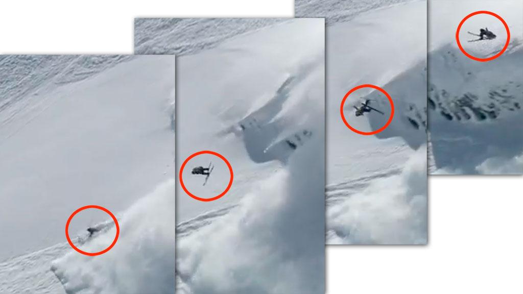 Sverre Liliequist hopper uten å ane at det er et snøskred bak ham. (Foto: Swatch Skiers Cup)