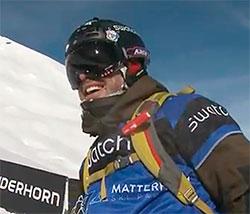 Sverre Liliequist er i mål. Hjelmkameraet er borte etter møtet med skredet. (Foto: Swatch Skiers Cup)