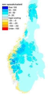 Her er det kommet mest nysnø den siste uken. En mm vannekvivalent tilsvarer omtrent en cm snø. (Foto: senorge.no)