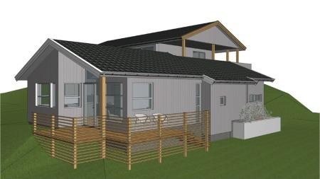 DRØMMEN: Slik skulle huset se ut til slutt. Det ble med drømmen.  (Foto: Jansen Arkitekter)