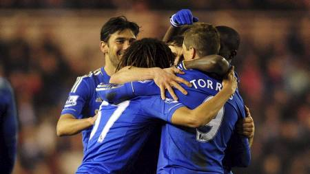 Chelsea players celebrate their first goal scored by Fernando Torres during the FA Cup (Foto: Anna Gowthorpe/Pa Photos)