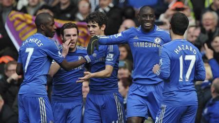 Chelsea feirer scoring mot WBA. (Foto: CARL COURT/Afp)