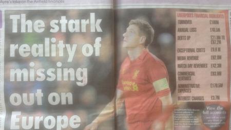 PROBLEMATISK: Liverpool taper penger, og trenger sterkt sportslig suksess. (Foto: Faksimile: Liverpool Echo)