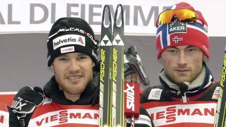 Dario Cologna og Petter Northug (Foto: Elvis Piazzi/Ap)