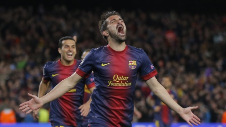 KVELDENS TREDJE: David Villa jublet hemningsløst for 3-0-scoringen mot Milan. (Foto: Daniel Ochoa de Olza, ©IAS)