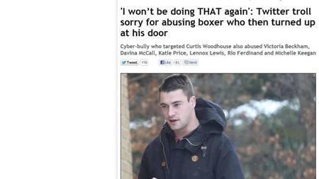 STÅR FREM: Nettmobberen som fikk bokser på døren står frem i onsdagens Daily Mirror. Nå vil han slette Twitter-kontoen sin. (Foto: www.mirror.co.uk/)