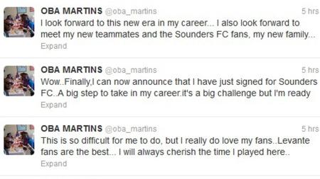 Obafemi Martins Twitter (Foto: Twitter)